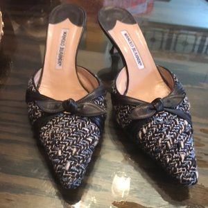 Manolo Blahnik navy tweed slides